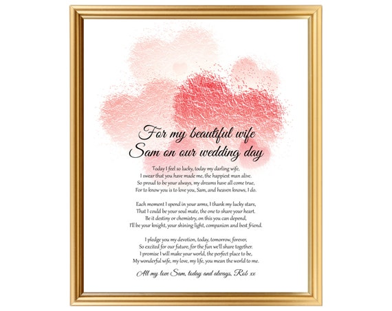 Wedding Day Gift For Wife: Personalized Gift Poem For Bride Wife On Wedding Day Wedding