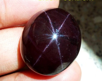 Garnet Star, Garnet 6 Rays, 128Cts Natural Garnet Star 26x22mm Gemstone Cabochons, Star Garnet 6 Rays Cabochons, January Birthstone