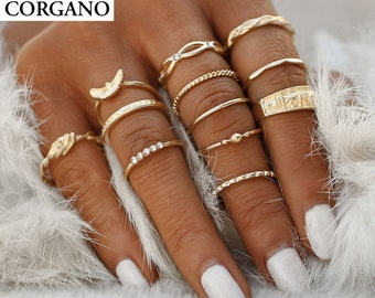 Gold Ring Set - Stacking Ring Set - Midi Ring Set for Women - 12 Ring Set - Gold Colored Alloy