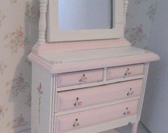 Mirrored Chest of Drawers, shabby chic, , twelfth scale dollhouse miniature