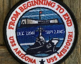USS Arizona USS Missouri Memorial Pearl Harbor, Hawaii Souvenir Travel Patch