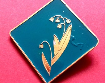 Lily of the valley. Flower Pin. Vintage collectible soviet pin badge, Made in USSR, 1970s