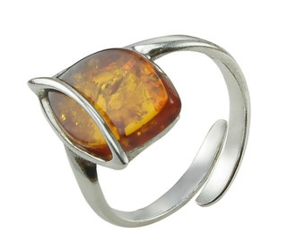 "Honey Amber and Sterling Silver Adjustable Ring ""Hanna"""