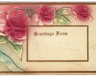 1910 Old Vintage Used Postcard, Pink Flowers, 1c Stamp