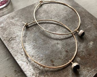 14k goldfill hoops with Tibetin Agate stones