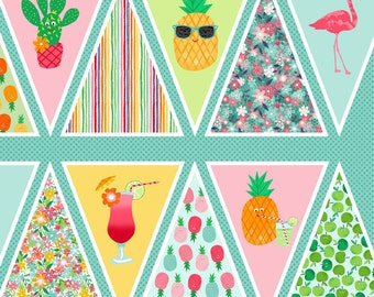 Fruity Friends Tropical Summer Party Flamingo Pineapple Cactus DIY Bunting Panel Cotton Fabric by Makower per panel
