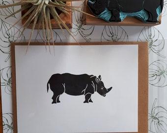 Handgestempelde map Rhino, print, greeting card, Rhino