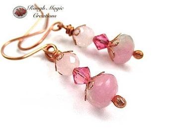 Pink Earrings, Spring Colors, Rose Quartz Gemstone, Swarovski Crystal, Copper, Feminine Valentine Jewelry for Women, Gift for Her E159