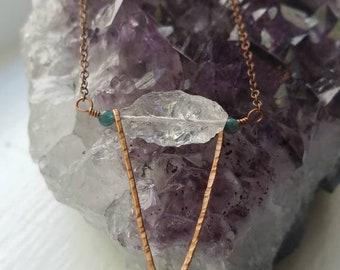 Quartz + Hammered Antique Copper Necklace