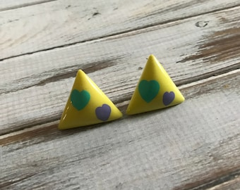 Geometric lime green triangle post earrings with purple and blue hearts plastic chunky 80s earrings