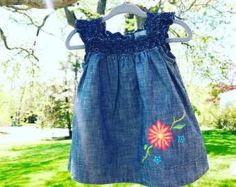 One of a kind baby jean dress, one size only 3-6 months on dress with handpainted flowers