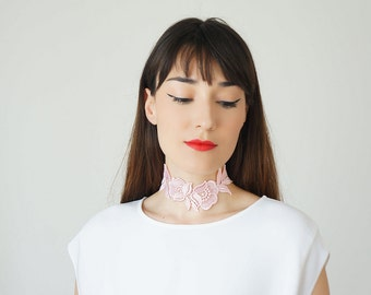Lace Choker Summer Trends Bridal Pink Necklace Statement Necklace Gold Necklace Summer Gift For Her  GiftCustom/ VICERO
