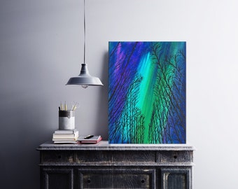 One of a Kind 11 x 14 Landscape Painting Northern Lights Acrylic Painting - Galaxy Art - Aurora Borealis Art - Canvas Painting