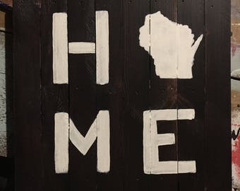 Wisconsin Home Pallet Sign