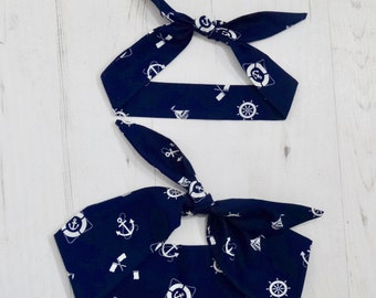 Matching Mum & Baby Rockabilly Head Scarf - Blue Nautical Anchor - Cotton Shower Sailor Bandana Boy Girl Gift Mom Mother Unisex 1950s Pin Up