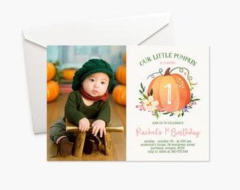 Our Little Pumpkin Invitation Girl First Birthday Invitation Photo Invitation Fall Birthday Party Invite Boho Printable Invitation Halloween