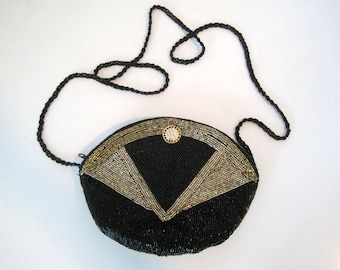 Vintage Beaded Crossbody Evening Bag - Small Purse Black & Gold 1970s Disco Glam