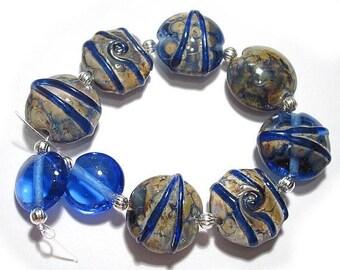 Spring Fling Sale Denim Blues Lentils, SRA Handmade Glass Lampwork Beads