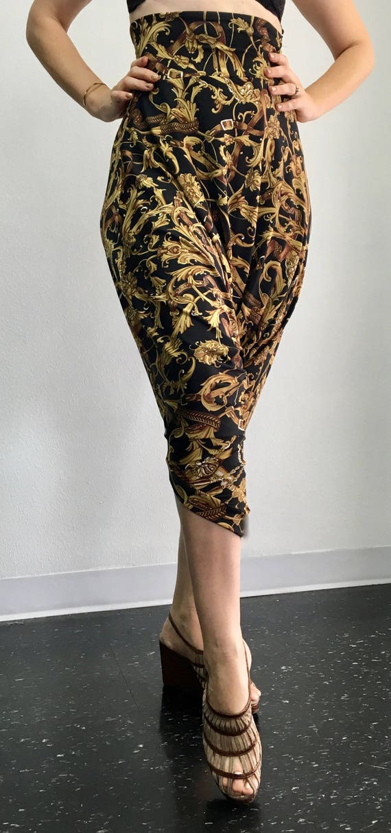 High Waisted Harem Drop Pant - Baroque Buckles - M/L - one of a kind