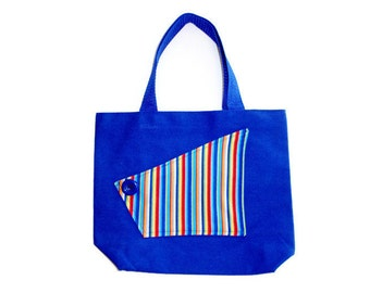 Toy or Book Bag For Toddler Boys, Blue Stripe Pocket Canvas Tote, Top Handle Bag, Travel Tote