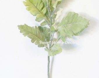 JennysFlowerShop  Dusty Miller Artificial Leaf Bush Small Size Bush DIY Craft Greenery Set of 3
