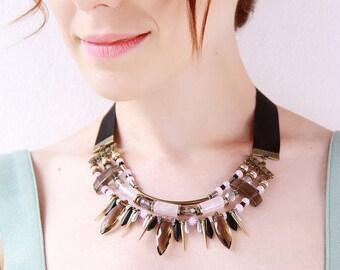 Rose quartz statement necklace unique necklaces for women spike stone jewelry black necklace for women stone jewelry shop black necklace