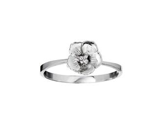 Cherry Blossom itsy bitsy Ring, Cherry Blossom Ring, Stacking Ring,