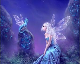 Leuchtende Drachen & Märchen-Kunst - Malerei von Rachel Anderson