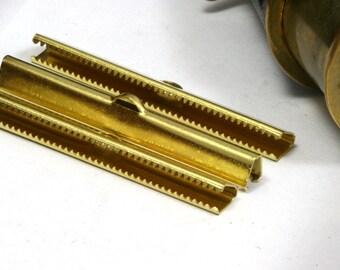 10 pcs 6x50 mm Raw Brass Ribbon Crimp Ends, Raw Brass Ribbon Crimp End, Ribbon Crimp Ends cap, with loop Findings R032-6B 1785