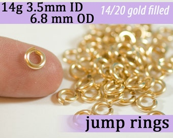14g 3.5mm ID 6.8mm OD gold filled jump rings -- goldfill 14g3.50 jumprings 14k goldfilled