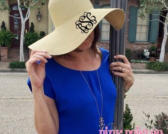 Monogram Beach Hat | Monogrammed Floppy Hat | Derby Hat | Beach Hat |  Sun Hat | Eater Hat