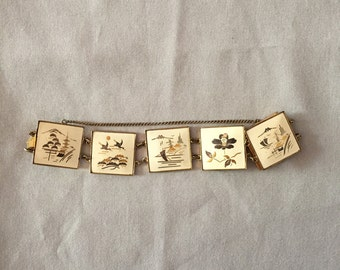 1930s charm link bracelet | japanese inlay artwork bracelet