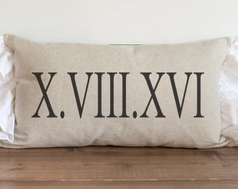 Custom Pillow Cover // ROMAN NUMERAL DATE Pillow // 16 x 26 Pillow Cover // Wedding Gift // Throw Pillow // Gift for Her // Accent Pillow