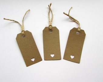 10 Heart Gift Tags, Gifts, Wedding, Presents, Natural, Special, Handmade, Free postage to UK