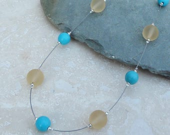 Turquoise, Yellow Glass & Sterling Silver Floating Beaded Necklace - NEK029 - Illusion, Handmade, Jewellery, Jewelry, Gift, Present, For Her