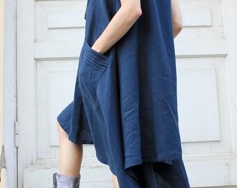 Linen Dress/ Maxi Dress/ Summer Dress/ Casual Dress/ Sleeveless Dress/ Oversize Dress/ Sundress/ Party Dress/ Boho Dress/ Blue Dress/R00008