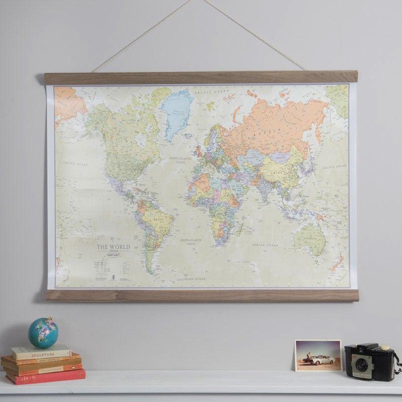 Mapa de mundo clásico decoración para el hogar dormitorio
