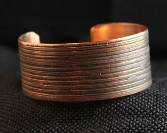 Etched Copper Cuff Bracelet (041917-016)
