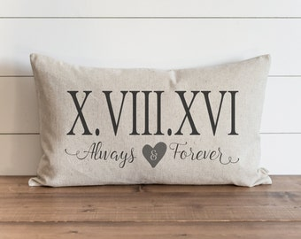Customized Pillow Cover // 16 x 26 Pillow Cover // Wedding Gift // Throw Pillow // Gift for Her // Accent Pillow // ROMAN NUMERAL DATE_A&F