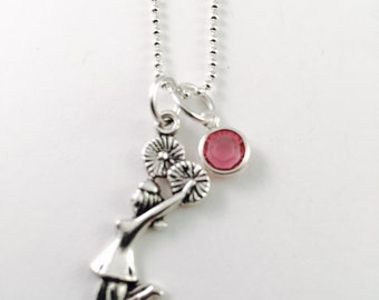 """Personalized Cheer necklace, cheerleader necklace, cheer team, Poms charm necklace, 20"""" necklace, Coed Cheer charm, Swarovski 6mm birthstone"""