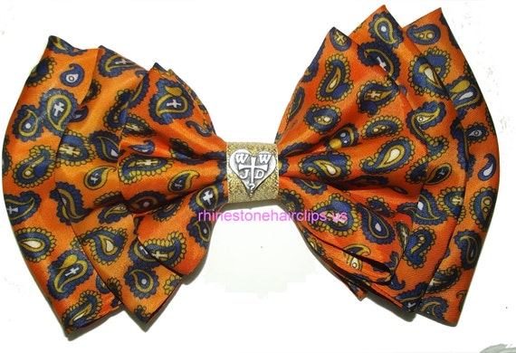 Becky Bows ~OOAK French Barrette Hand crafted GIANT huge Scarf hair bow Women or Girls CHRISTIAN orange navy gold