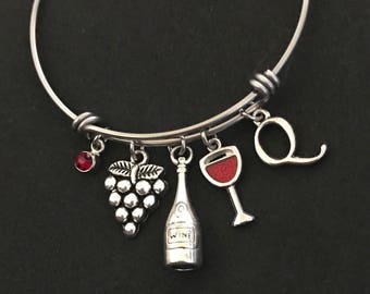 Personalized Wine Bangle Personalized Wine Bracelet