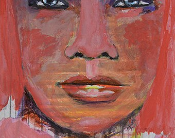 Acrylic Mixed Media Collage Pink Girl Portrait Painting. Original Art. Small Apartment Wall Art. New Beginning
