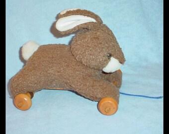 Vintage Plush Pull Toy Bunny Rabbit on Wheels