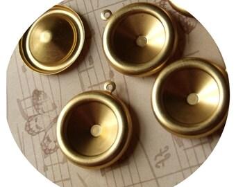 Brass 16mm Rivoli Settings Single Loop 4 Pcs