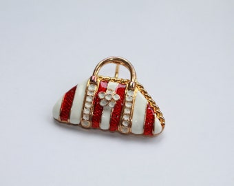 Vintage Red and White Purse Brooch