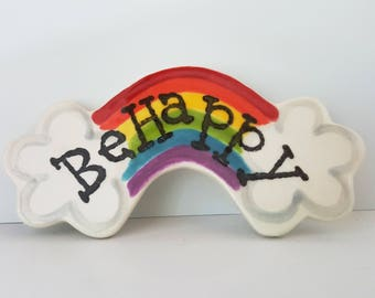 Rainbow Ornament | Christmas Ornament | Ornament or Magnet | Custom Clay Ornament | Personalized Rainbow | Be Happy Ornament
