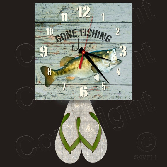Gone Fishing Clock with Flip Flop Pendulum • Large Mouth Bass Clock