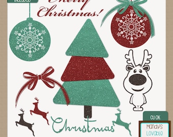 Glitter Christmas Clipart Set - Red Green Sparkle - Christmas Graphics - High Resolution Images - 300 dpi - CU OK