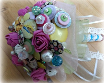 Summer Brides button, bead and hot pink Rose posy and buttonhole